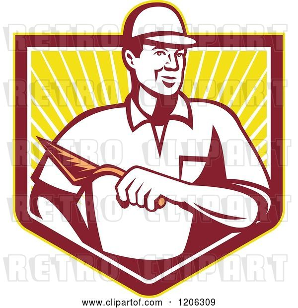 Vector Clip Art of Retro Mason Worker Guy with a Trowel over a Ray Crest Shield