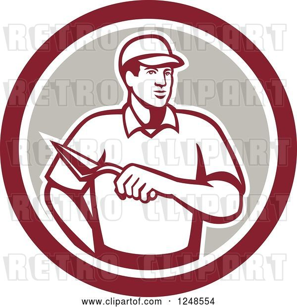 Vector Clip Art of Retro Mason Worker with a Trowel in a Circle