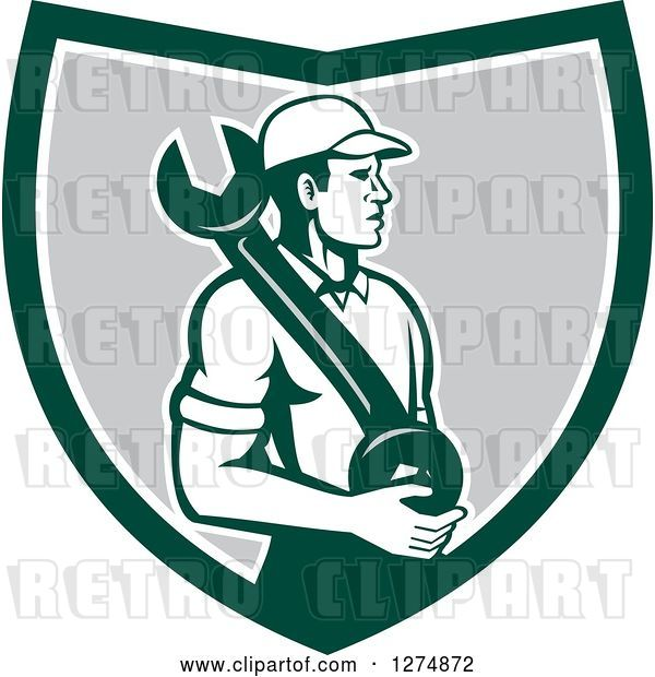 Vector Clip Art of Retro Mechanic Guy Holding a Giant Spanner Wrench in a Green White and Gray Shield