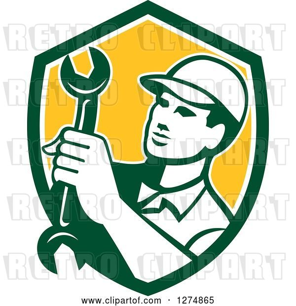 Vector Clip Art of Retro Mechanic Guy Holding a Spanner Wrench in a Green White and Yellow Shield