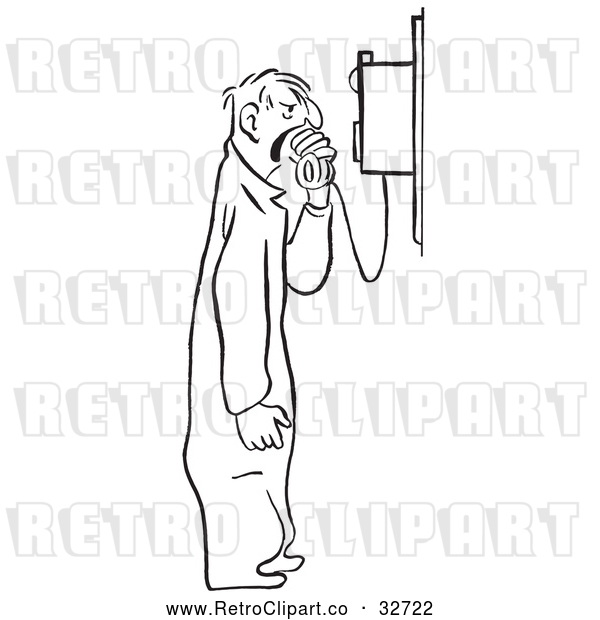 Vector Clip Art of Retro Mechanic Shouting into a Phone