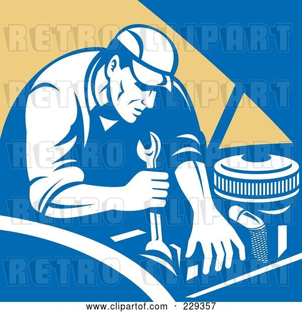 Vector Clip Art of Retro Mechanic Working on an Engine