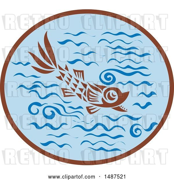 Vector Clip Art of Retro Medieval Styled Fish in Water