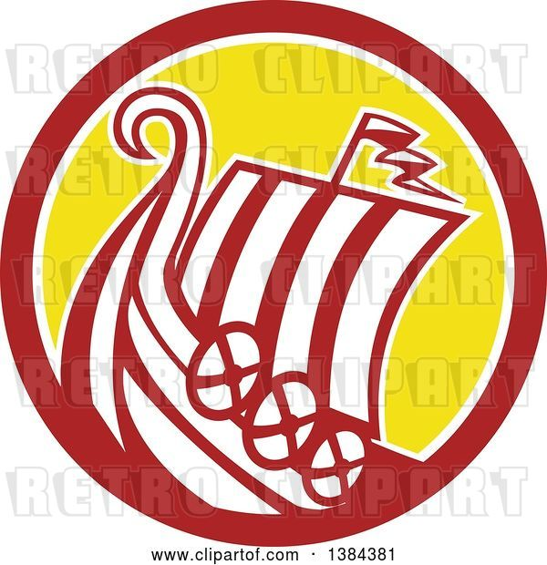 Vector Clip Art of Retro Medieval Viking Ship Longboat in a Brown White and Yellow Circle