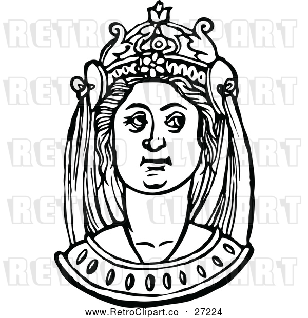 : Vector Clip Art of Retro Medieval Woman and Headdress 7