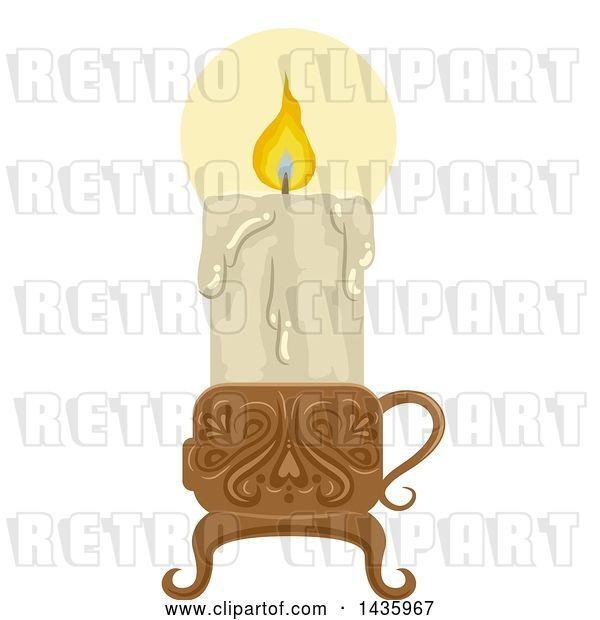 Vector Clip Art of Retro Melting and Lit Candle in a Holder