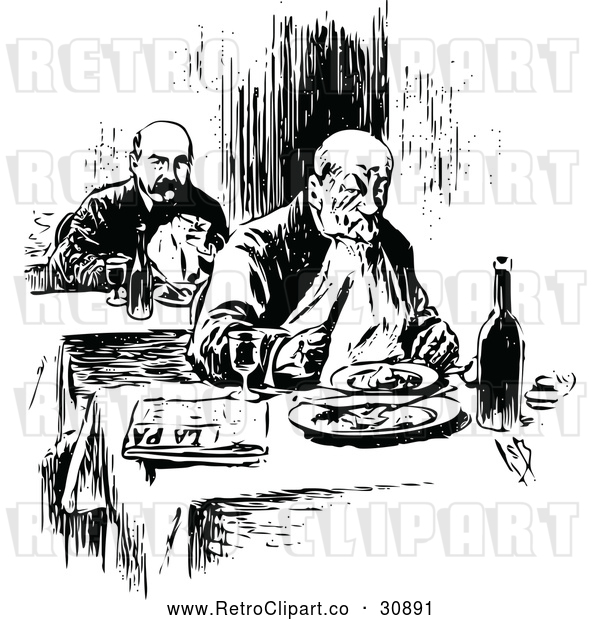 Vector Clip Art of Retro Men Dining Alone