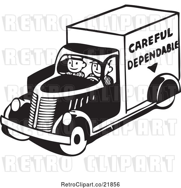 Vector Clip Art of Retro Men Driving a Careful Dependable Delivery Truck