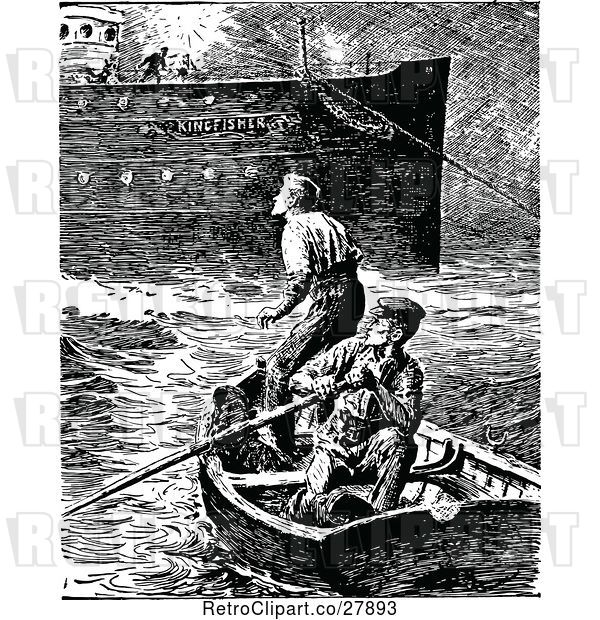 Vector Clip Art of Retro Men in a Boat by a Ship
