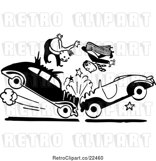 Vector Clip Art of Retro Men in a Head on Collision