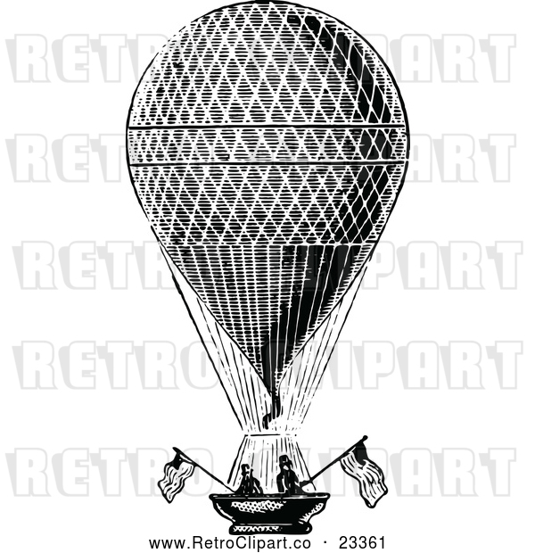Vector Clip Art of Retro Men in a Hot Air Balloon with American Flags