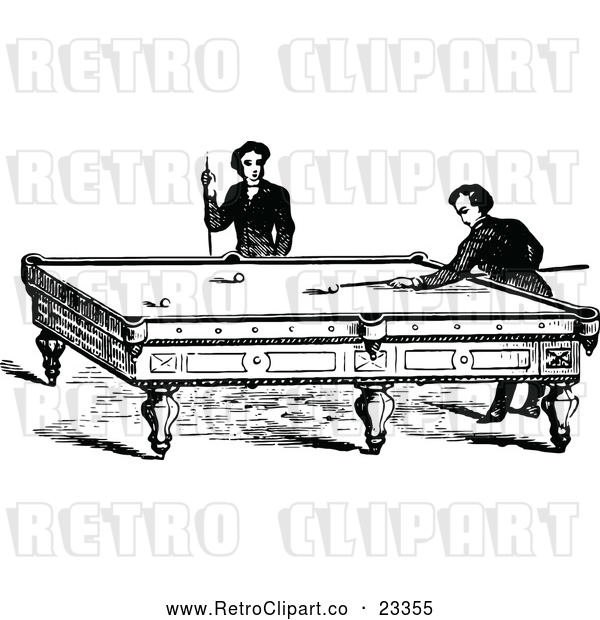 : Vector Clip Art of Retro Men Playing a Game of Billiards Pool