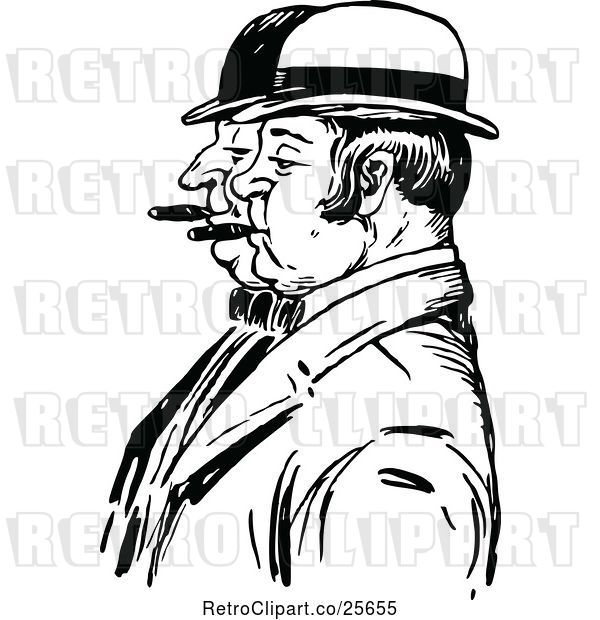 Vector Clip Art of Retro Men Smoking Cigars in Profile