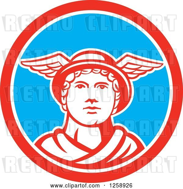 Vector Clip Art of Retro Mercury in a Red White and Blue Circle