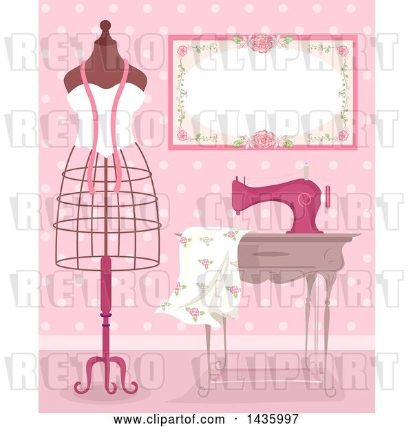 Vector Clip Art of Retro Metal Frame Mannequin by a Sewing Machine and Dress Fabric in a Pink Room