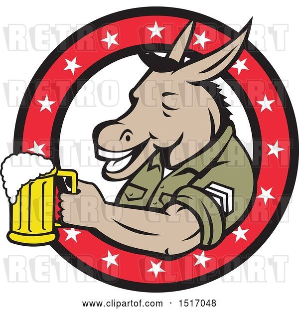 Vector Clip Art of Retro Military Donkey Holding a Beer Mug in a Star Ring