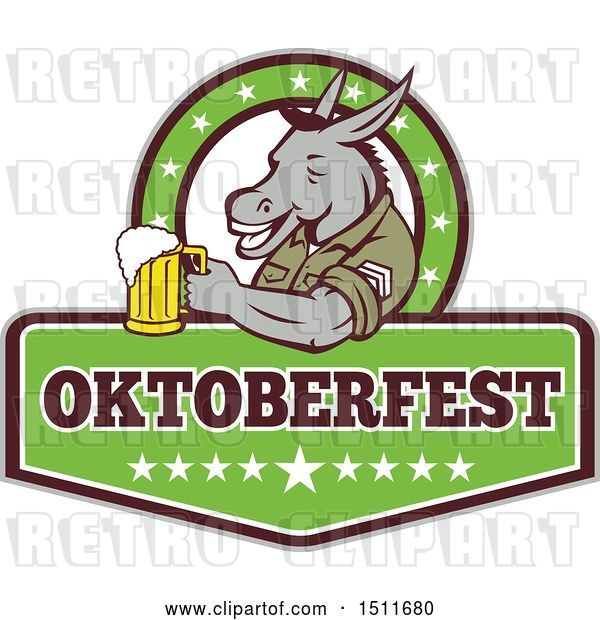 Vector Clip Art of Retro Military Donkey Holding a Beer Mug in an Oktoberfest Design