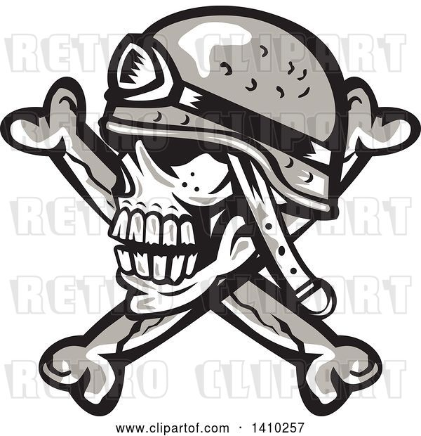 Vector Clip Art of Retro Military Skull and Crossbones with a Helmet