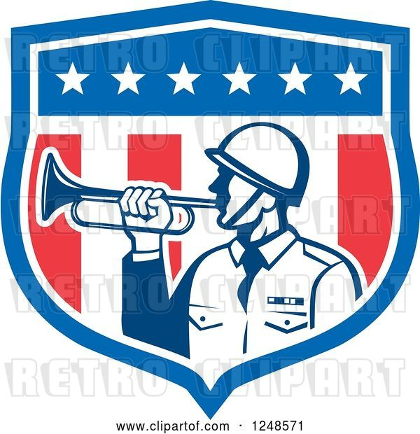 Vector Clip Art of Retro Military Soldier with a Bugle in a Shield