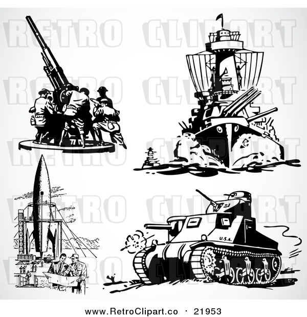 Vector Clip Art of Retro Military Weapons