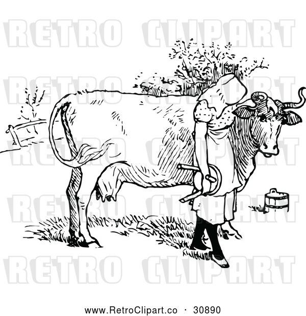Vector Clip Art of Retro Milk Maid Girl with a Cow