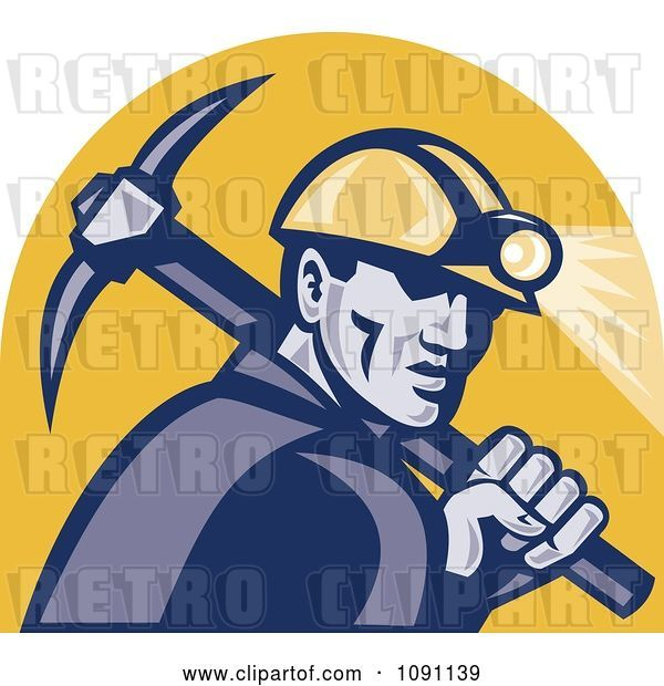 Vector Clip Art of Retro Miner with a Pickaxe and Head Lamp
