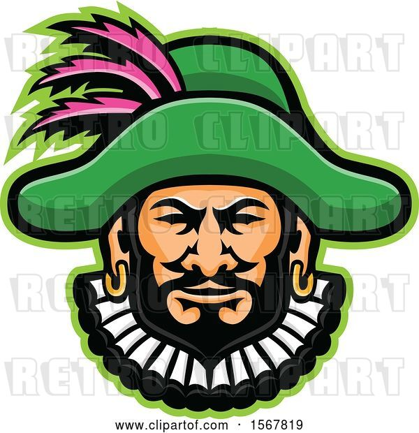 Vector Clip Art of Retro Minstrel Mascot Head