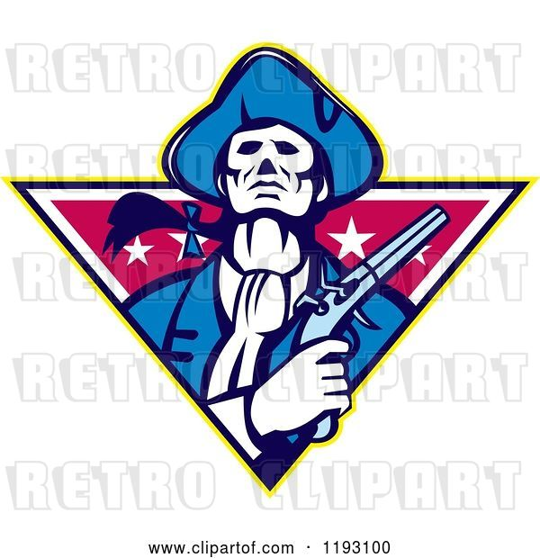 Vector Clip Art of Retro Minuteman Patriot with a Flintlock Pistol over a Star Triangle