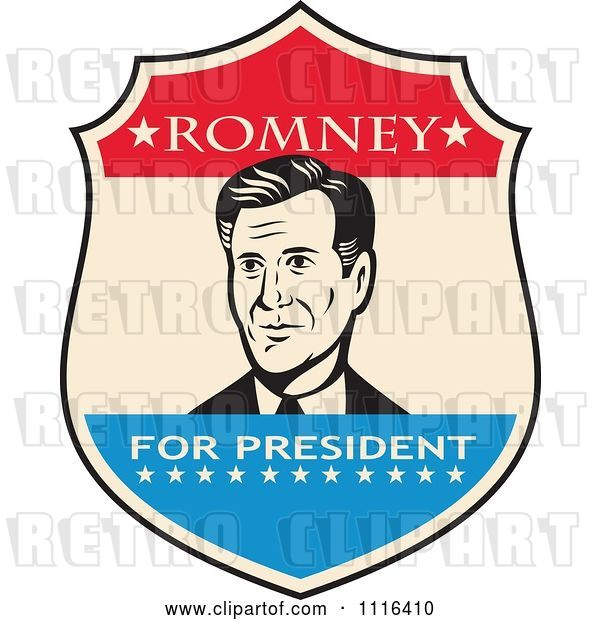 Vector Clip Art of Retro Mitt Romney Portrait in a Shield with Romney for President Text
