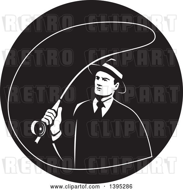 Vector Clip Art of Retro Mobster Gangster Guy Fly Fishing in a Circle