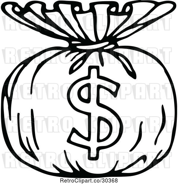 Vector Clip Art of Retro Money Sack with a Dollar Symbol