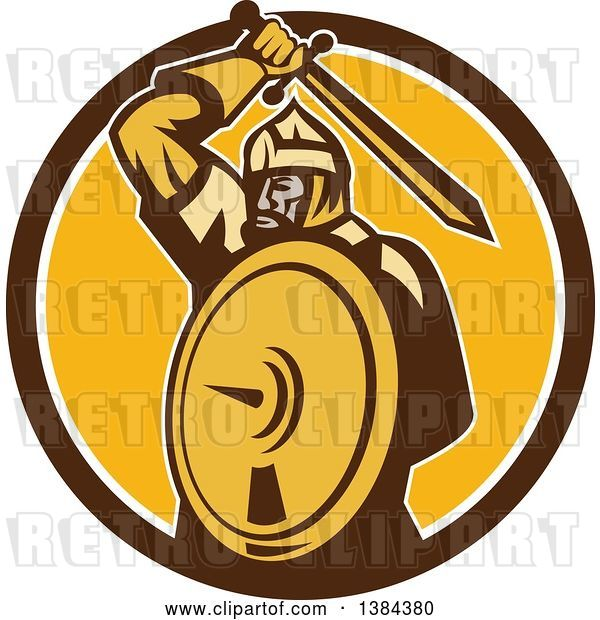 Vector Clip Art of Retro Mongol Horde Barbarian Warrior Holding a Sword and Shield in a Brown White and Yellow Circle