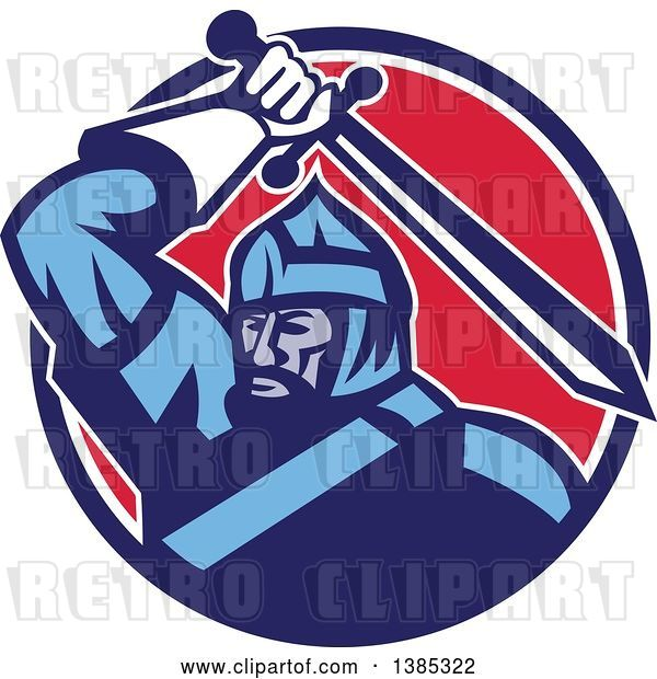 Vector Clip Art of Retro Mongol Horde Barbarian Warrior Wielding a Sword in a Blue White and Red Circle