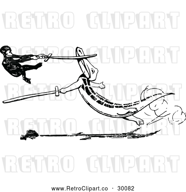 Vector Clip Art of Retro Monkey and Crocodile Sword Fighting