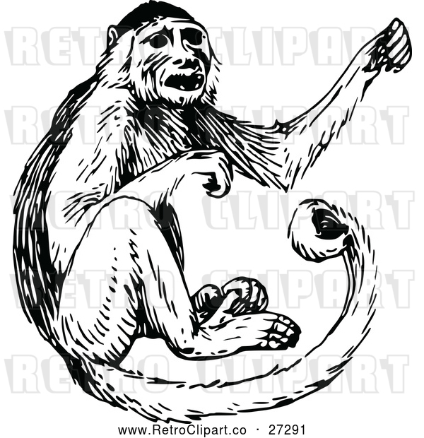 Vector Clip Art of Retro Monkey