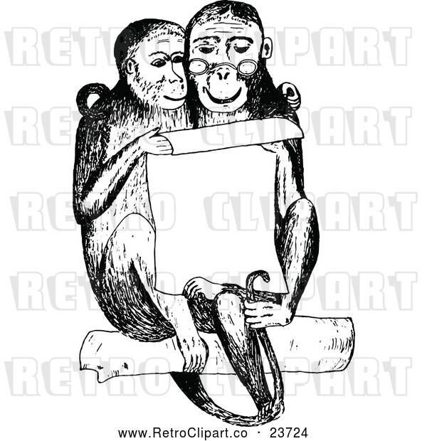 Vector Clip Art of Retro Monkey Couple Reading a Notice