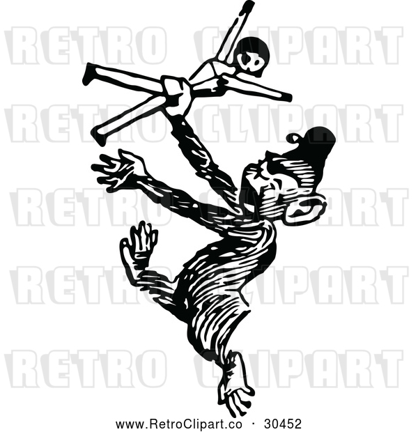 : Vector Clip Art of Retro Monkey Dancing with a Doll