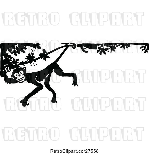 Vector Clip Art of Retro Monkey in a Tree Border