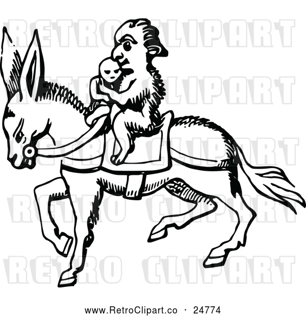 Vector Clip Art of Retro Monkey on a Donkey