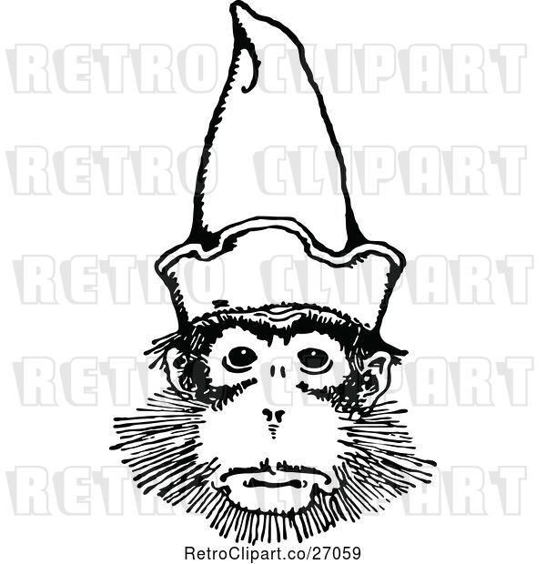 Vector Clip Art of Retro Monkey Wearing a Hat