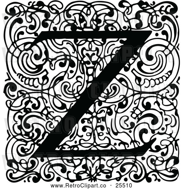 Vector Clip Art of Retro Monogram Z Letter over Swirls