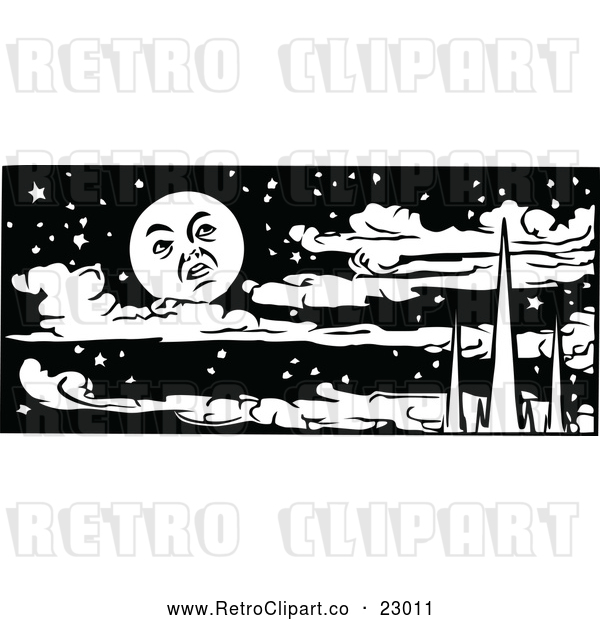 Vector Clip Art of Retro Moon over Mountains and Clouds in a Night Sky