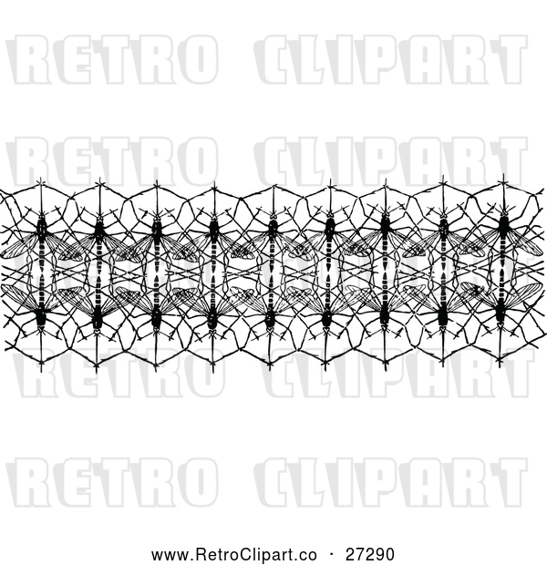 Vector Clip Art of Retro Mosquito Net Border