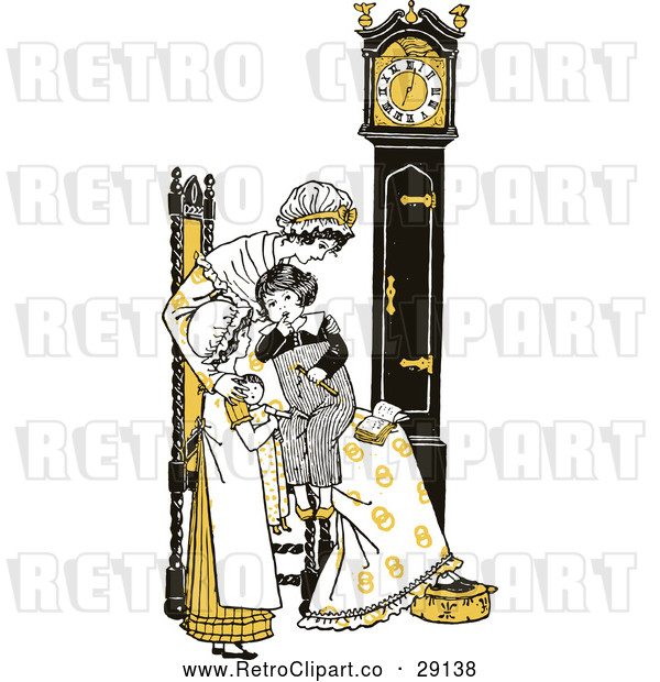 : Vector Clip Art of Retro Mother and Children by a Clock in Yellow Tones