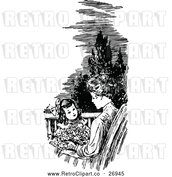 Vector Clip Art of Retro Mother and Daughter on a Patio