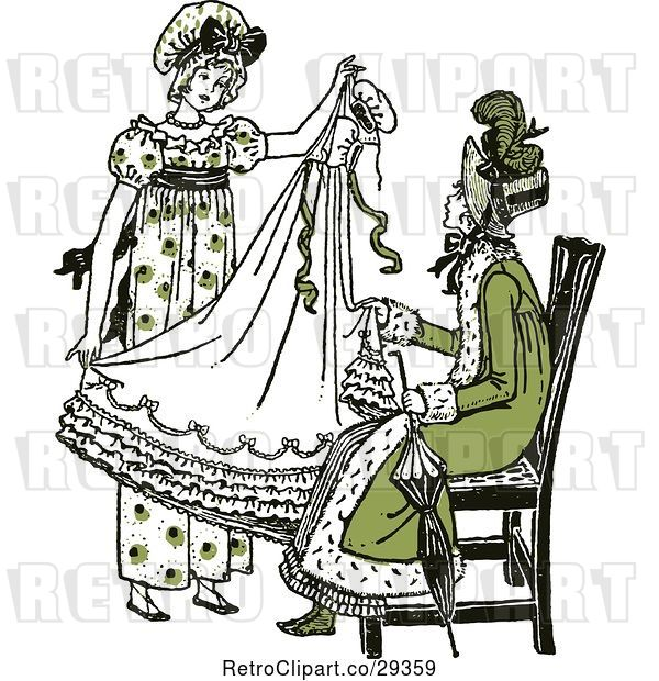 Vector Clip Art of Retro Mother and Daughter Sewing a Dress in Green Tones