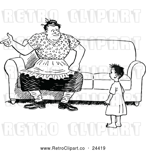 Vector Clip Art of Retro Mother and Son by a Couch