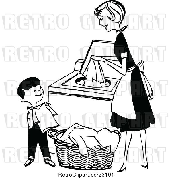 : Vector Clip Art of Retro Mother and Son Folding and Washing Laundry
