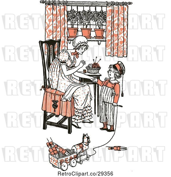 Vector Clip Art of Retro Mother and Son Sewing and Playing in Orange Tones