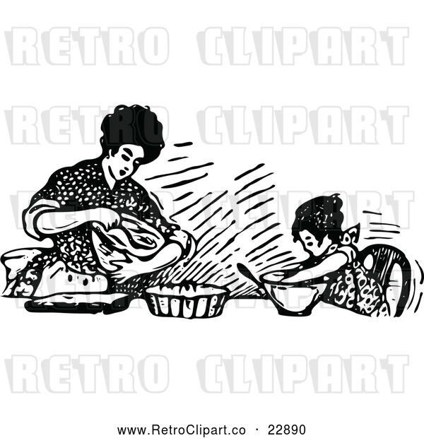 Vector Clip Art of Retro Mother Baking with Her Daughter